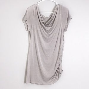 Halogen Cowl Neck Sleeveless Gray Blouse Top
